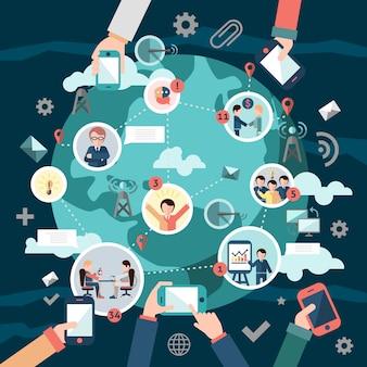 Concepto de redes sociales con elementos y globo terráqueo.