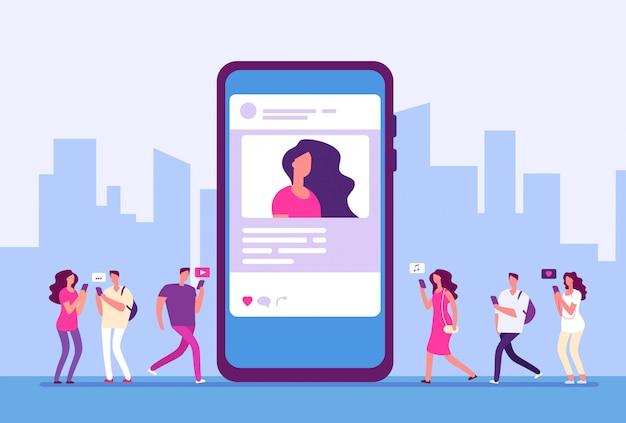 Concepto de redes sociales. la gente sigue el teléfono inteligente con marketing en internet, mensajes e iconos.