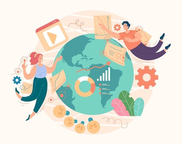 Concepto de redes sociales de gestión de marketing global digital seo