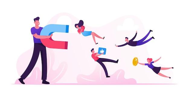 Concepto de redes sociales. ilustración plana de dibujos animados