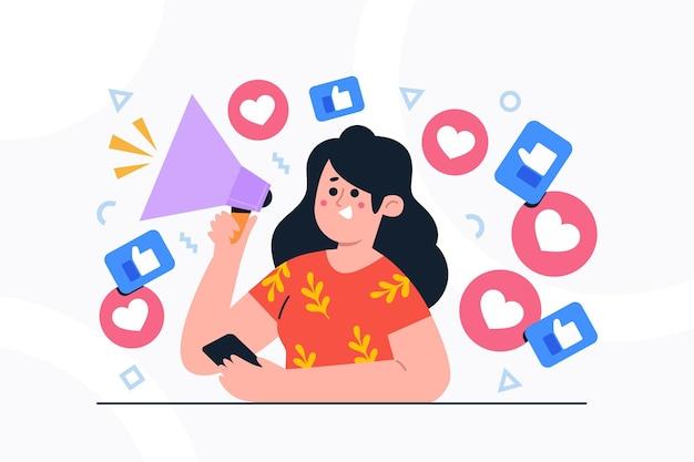 Concepto de redes sociales influyentes