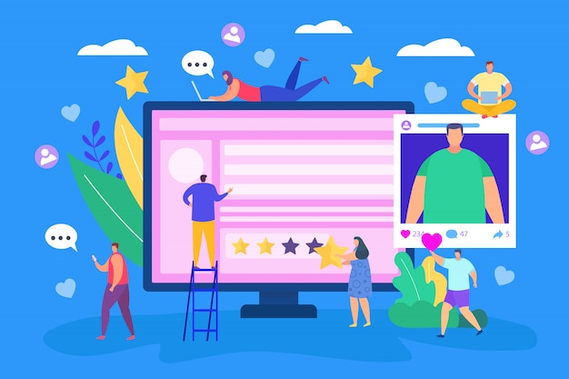Concepto de redes sociales de internet, ilustración. gente en línea de marketing plano en tecnología de teléfonos inteligentes. información web