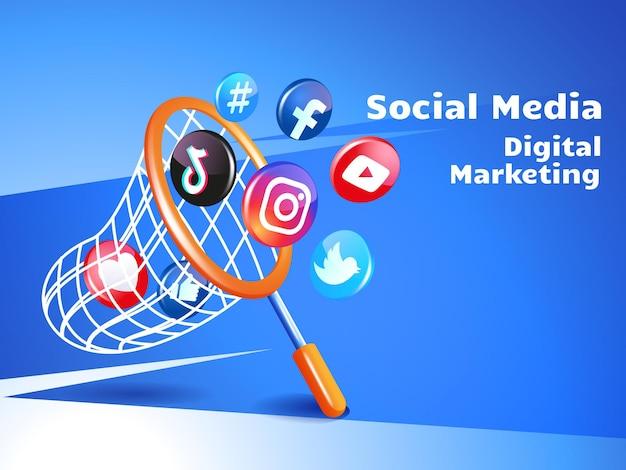Concepto de redes sociales de marketing digital con red de pesca