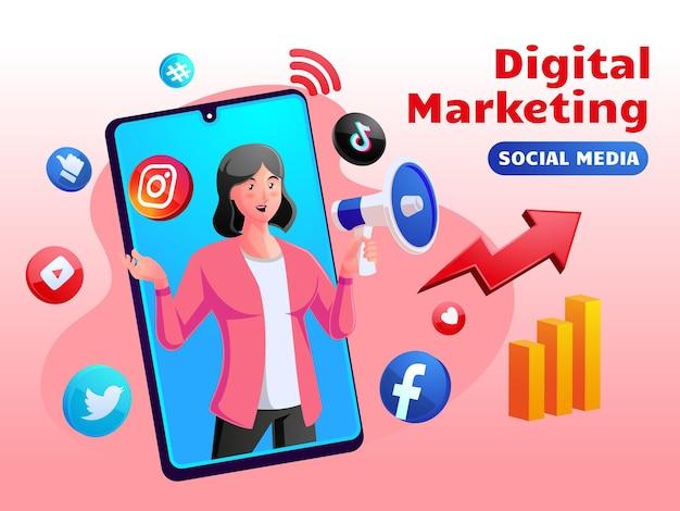 Concepto de redes sociales de marketing digital