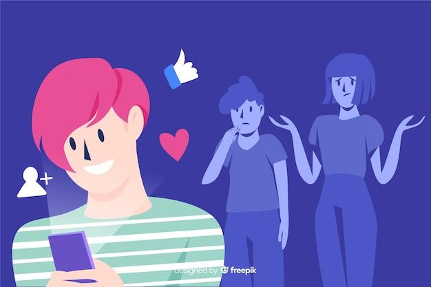 Concepto de redes sociales matando amistades