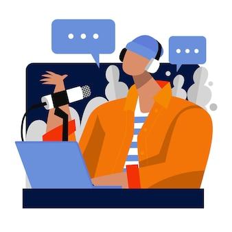 Concepto de redes sociales de podcast