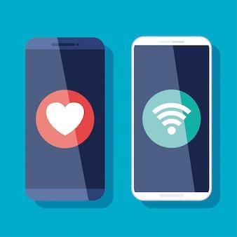 Concepto de redes sociales, reacción amorosa y wifi en teléfonos inteligentes.