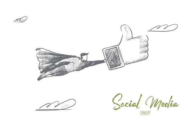 Concepto de redes sociales. superhéroe dibujado a mano con grandes como en la mano. el hombre volador tiene signo como de la ilustración aislada de la red social.