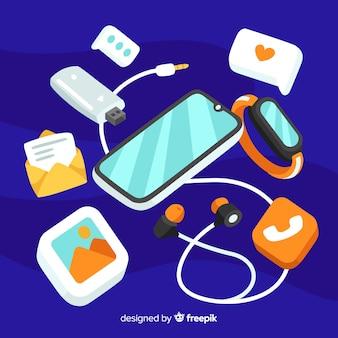 Concepto de redes sociales con teléfono inteligente y elementos