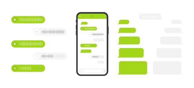Concepto de redes sociales. teléfono inteligente con pantalla de chat de mensajería y onda de voz. burbujas de plantilla de sms para componer diálogos. ilustración moderna.