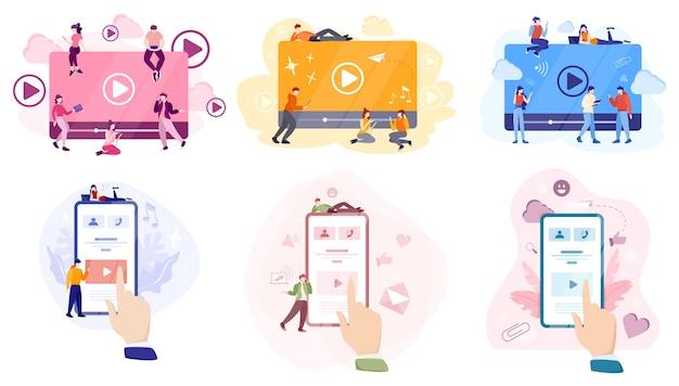 Concepto de redes sociales. usar la red para publicar y compartir contenido. comunicación a internet y conexión global. ilustración
