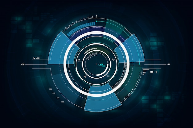 Concepto de redes de tecnología futurista gui interfaz de hud
