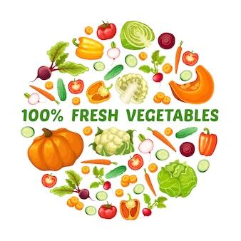 Concepto redondo de alimentos frescos de granja