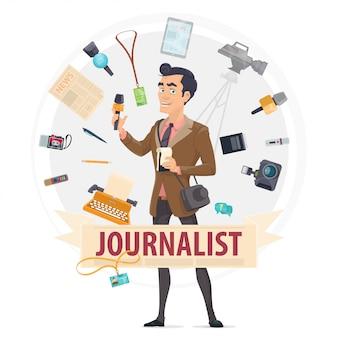 Concepto redondo colorido reportero