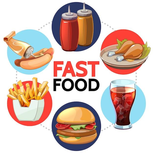 Concepto redondo de comida rápida de dibujos animados