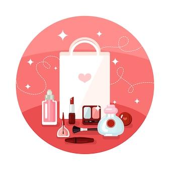 Concepto redondo de los cosméticos