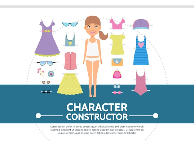 Concepto redondo de creación de personaje femenino plano con zapatillas de deporte de embrague de gafas de sol de camisa de falda de vestido de niña atractiva