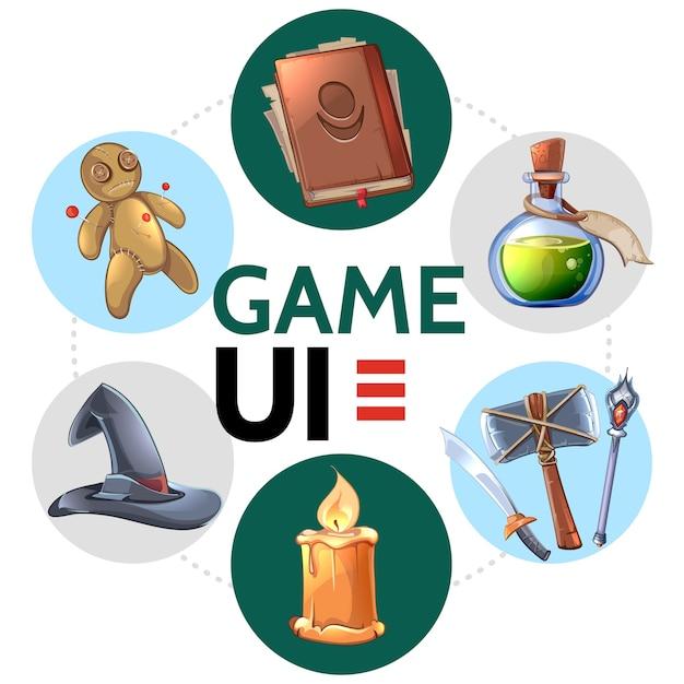 Concepto redondo de diseño de juegos móviles de dibujos animados