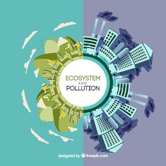 Concepto redondo de ecosistema y contaminación