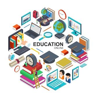 Concepto redondo de educación en línea isométrica con dispositivos para capacitación en línea gorra de graduación libros de estudiantes lupa reloj despertador mochila certificado ilustración de lápiz