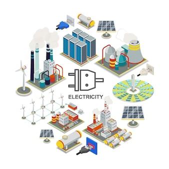 Concepto redondo de energía isométrica con combustible geotérmico y centrales nucleares, enchufes eléctricos, tomas de corriente, molinos de viento, paneles solares, almacenamiento de energía, portadores de gas, ilustración
