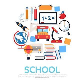 Concepto redondo escuela plana