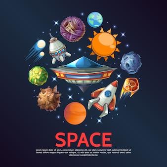 Concepto redondo de espacio de dibujos animados con el planeta tierra, meteoritos, asteroides, cometas, estrellas, naves espaciales, sol, ovni