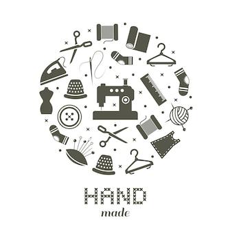 Concepto redondo hecho a mano con coser y tejer iconos.