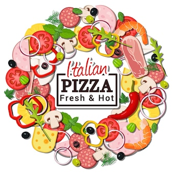 Concepto redondo de ingredientes de pizza italiana