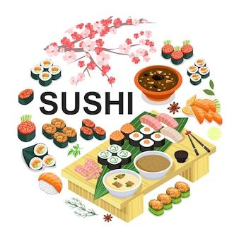 Concepto redondo isométrico de comida japonesa con sushi sashimi sopa de wasabi palillos de salsa de soja sakura cherry branch illustration