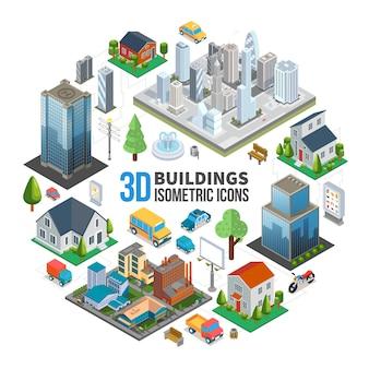 Concepto redondo isométrico del paisaje de la ciudad con edificios modernos, rascacielos, propiedades, bancos de transporte, árboles, fuente de basura, ilustración