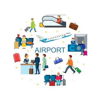 Concepto redondo plano aeropuerto