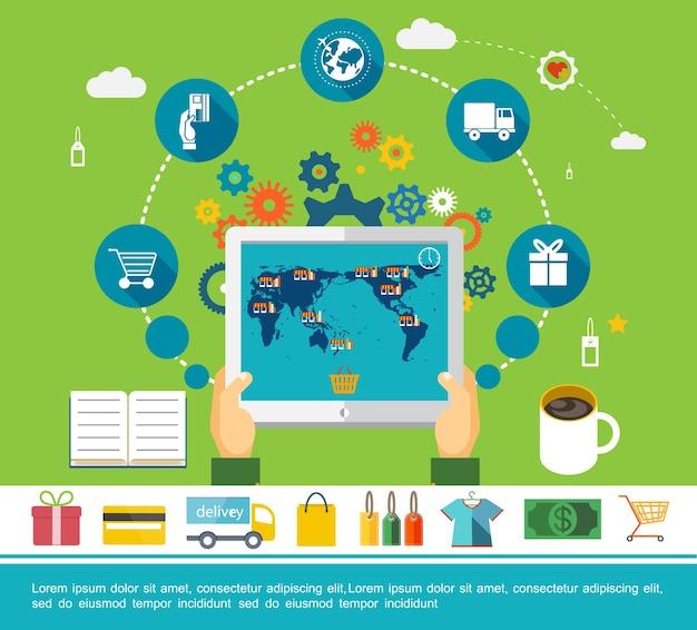 Concepto redondo plano de compras en línea