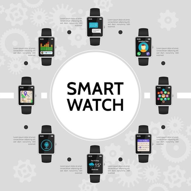 Concepto redondo de reloj plano inteligente con aplicaciones de música de chat de llamada de calendario de micrófono de mapa de navegación meteorológica