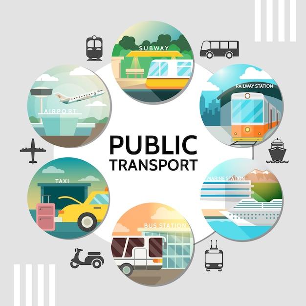 Concepto redondo de transporte público plano