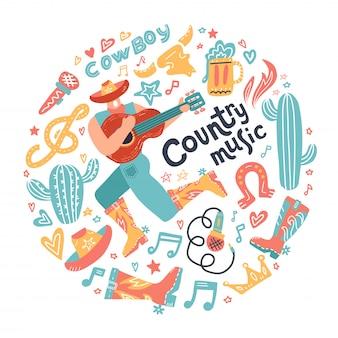 Concepto redondo con vaquero misionero y elementos de música country