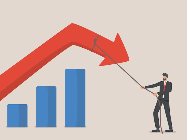 Concepto de reducción de costos. el empresario tiró de la flecha hacia abajo con una cuerda