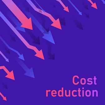 Concepto de reducción de costos. negocio perdido crisis disminución. diagrama del mercado financiero de acciones.