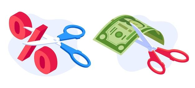 Concepto de reducción de tarifas. tijeras de corte de billetes de dólar y porcentaje. crisis económica, recesión nominal de la banca de dinero. ilustración de vector de dibujos animados de símbolos de término financiero y económico
