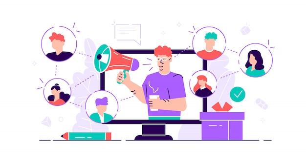 Concepto de referencia servicio de comunicación de audiencia de consumidores de marketing para publicidad influyente. promoción de productos personas. nuevos clientes método de compromiso de boca en boca. ilustración pequeña y plana