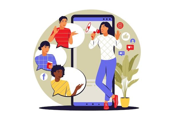 Concepto referir a un amigo. marketing de referencia, marketing de afiliados, marketing de redes. ilustración vectorial. plano