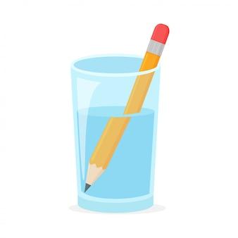 Concepto de refracción con lápiz de madera en un vaso de agua.