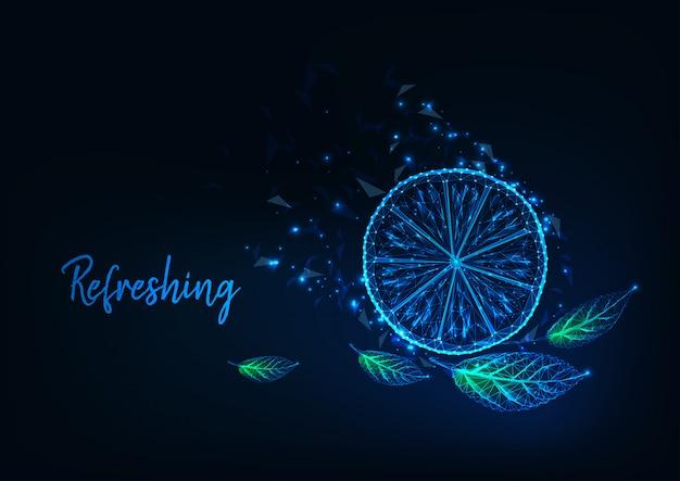 Concepto refrescante de cítricos futurista con rodaja de limón poligonal bajo que brilla intensamente, hojas verdes y texto.