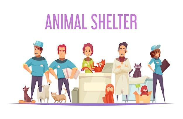 Concepto de refugio de animales con voluntarios veterinarios domésticos y mascotas sin hogar planas