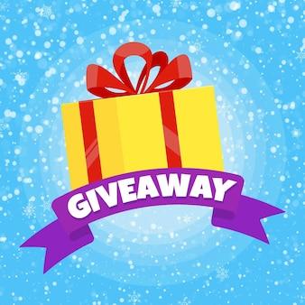 Concepto de regalo de invierno de sorteo para ganadores en la ilustración de vector de diseño de estilo plano de redes sociales