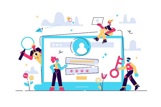 Concepto registrarse en la página en la pantalla de la computadora. computadora de escritorio con formulario de inicio de sesión y botón de inicio de sesión para página web, pancarta, presentación, redes sociales, documentos, carteles. ilustración, cuenta de usuario