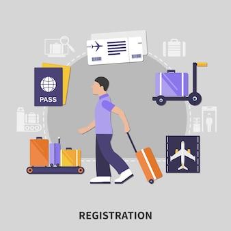 Concepto de registro de aeropuerto de diseño plano con hombre y su equipaje