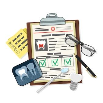 Concepto de registro médico dental con tarjeta de iconos planos del paciente, implantes dentales, radiografías y herramientas de odontología. ilustración vectorial aislada