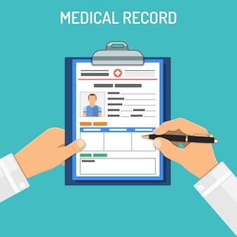 Concepto de registro médico