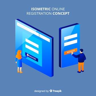 Concepto de registro online en isométrico